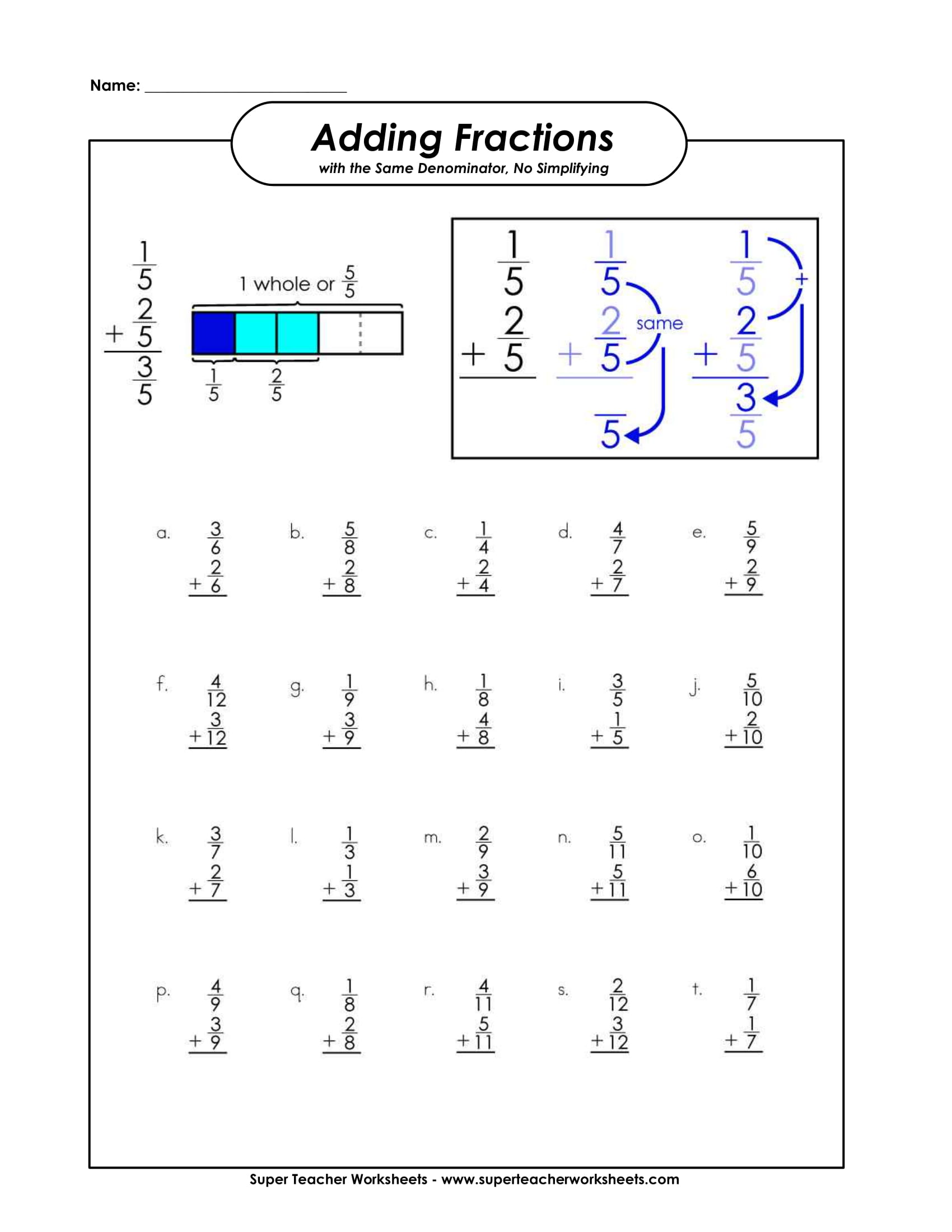 adding fractions sample worksheet example