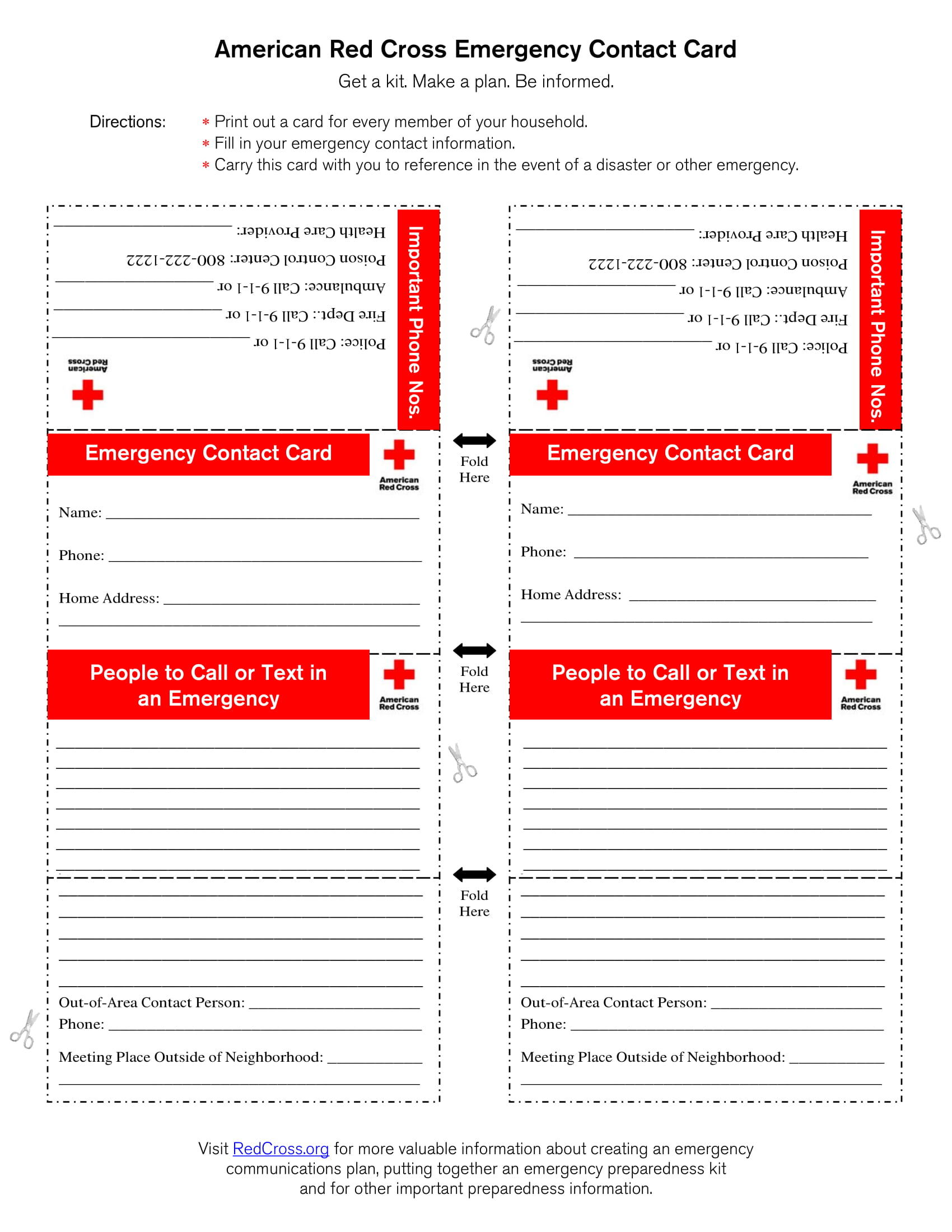 american red cross emergency contact card form