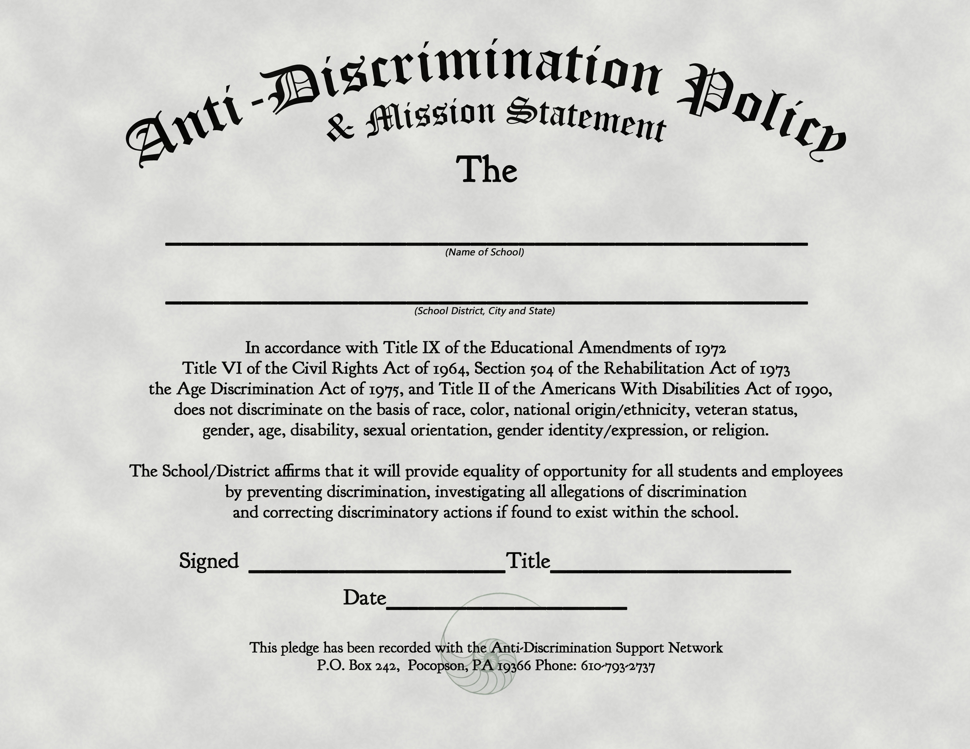 anti discriminatory policy and mission statement