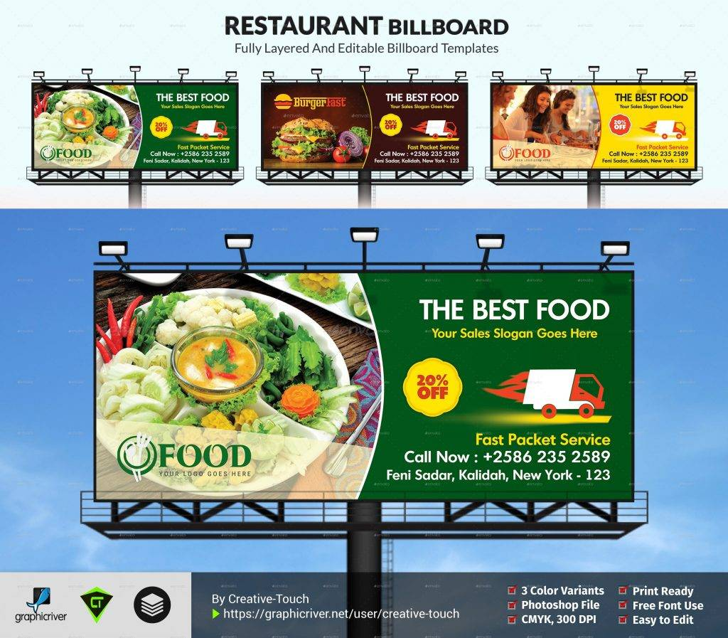 appealing restaurant billboard