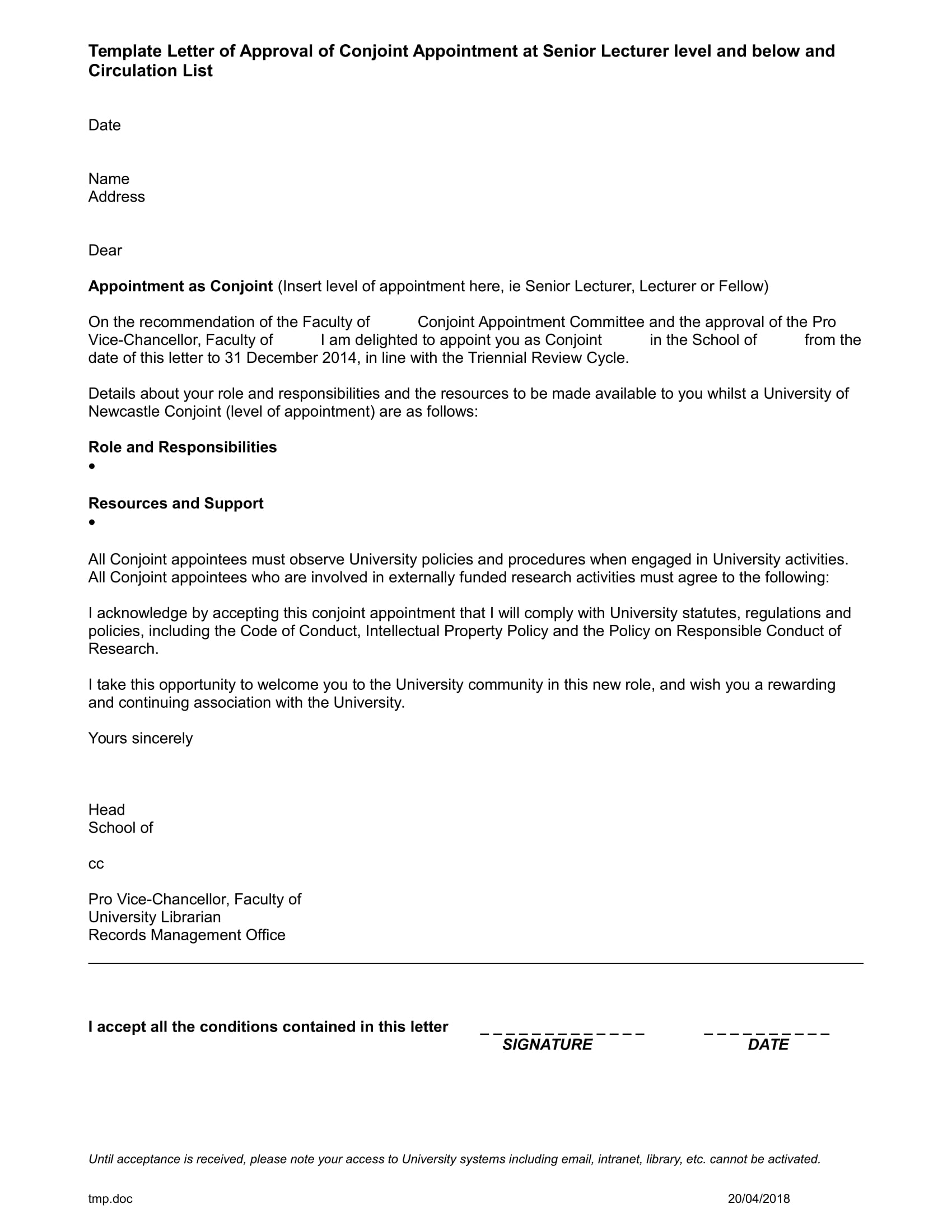 appointment conjoint letter