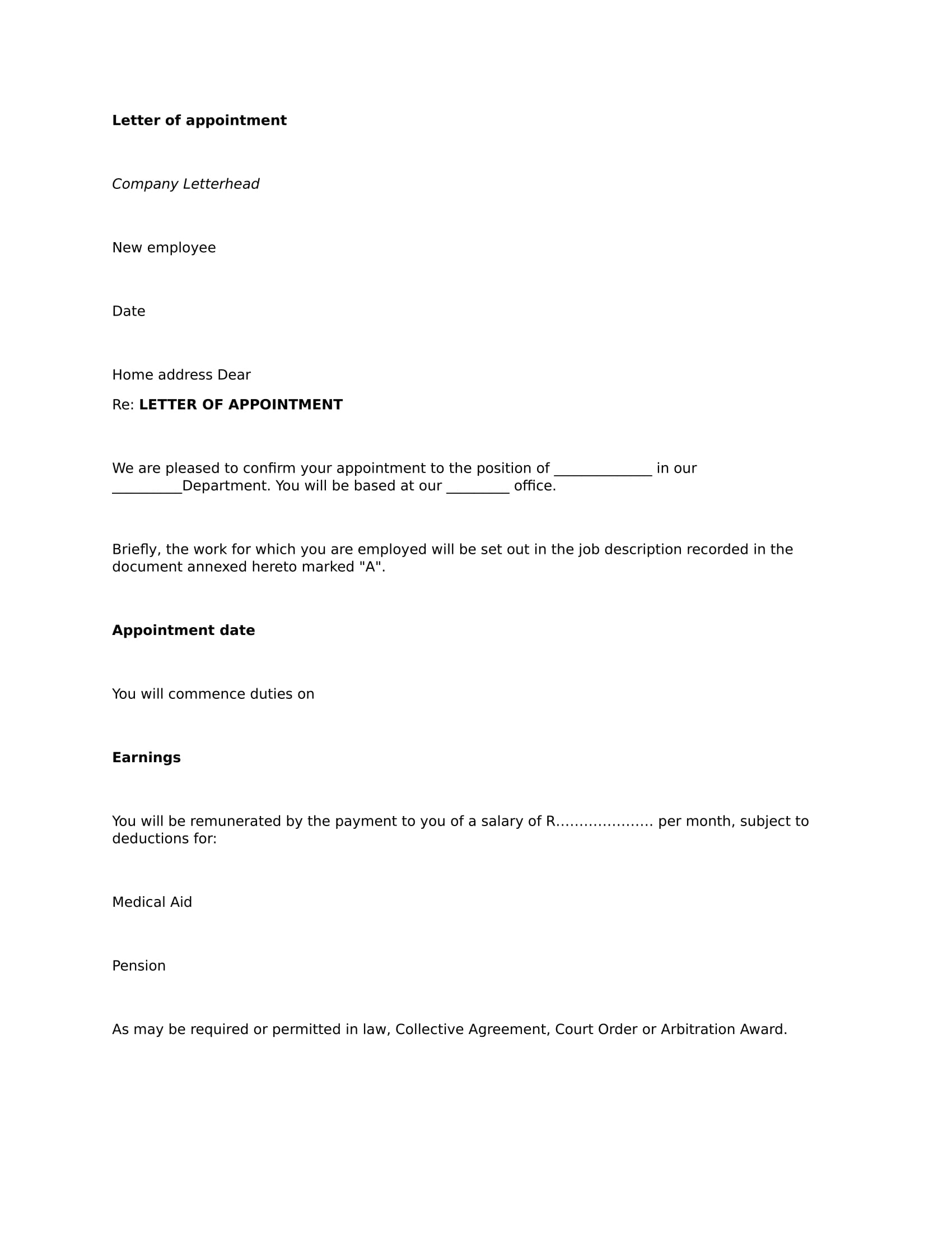 appointment letter format sample