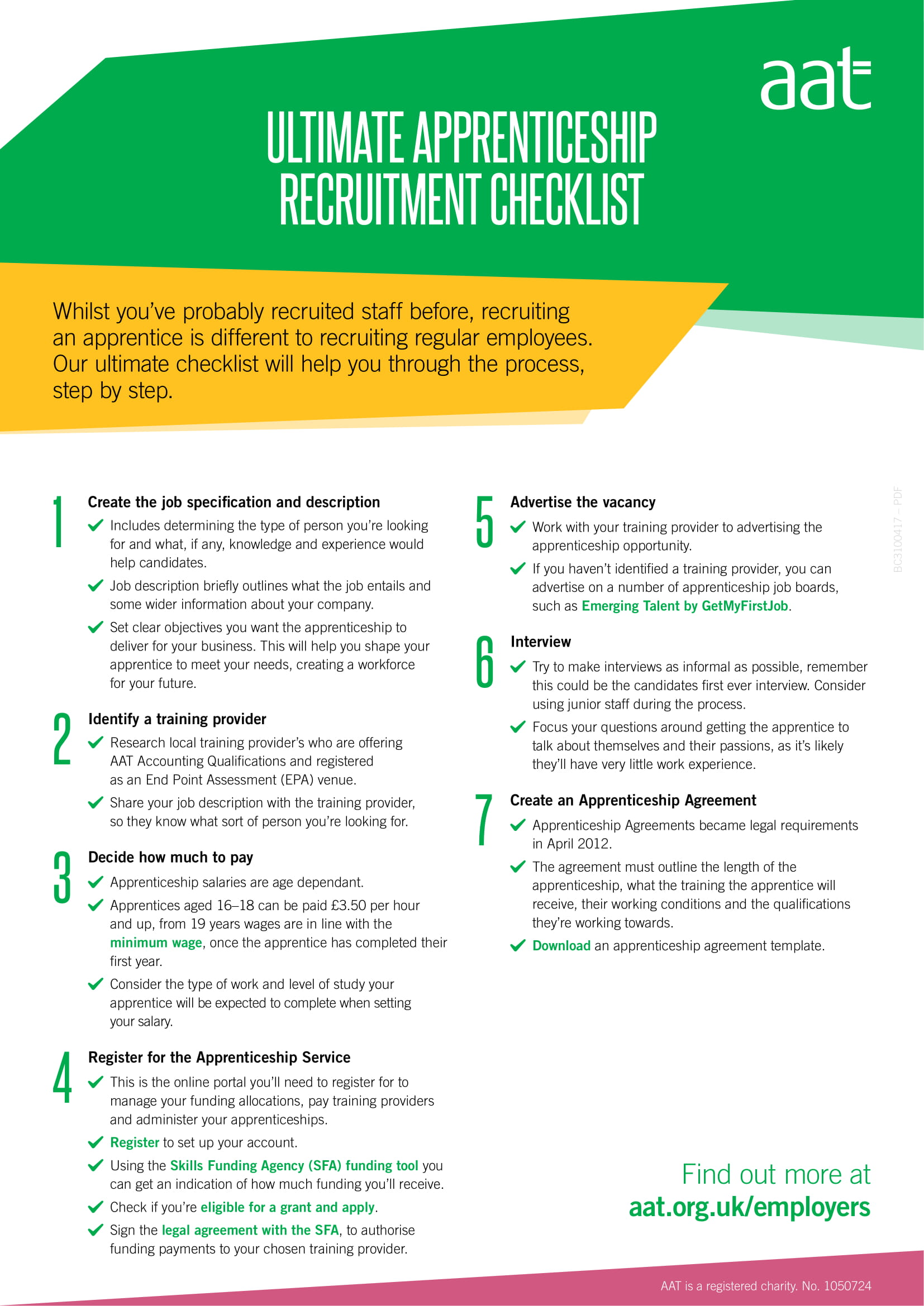 apprenticeship recruitment checklist