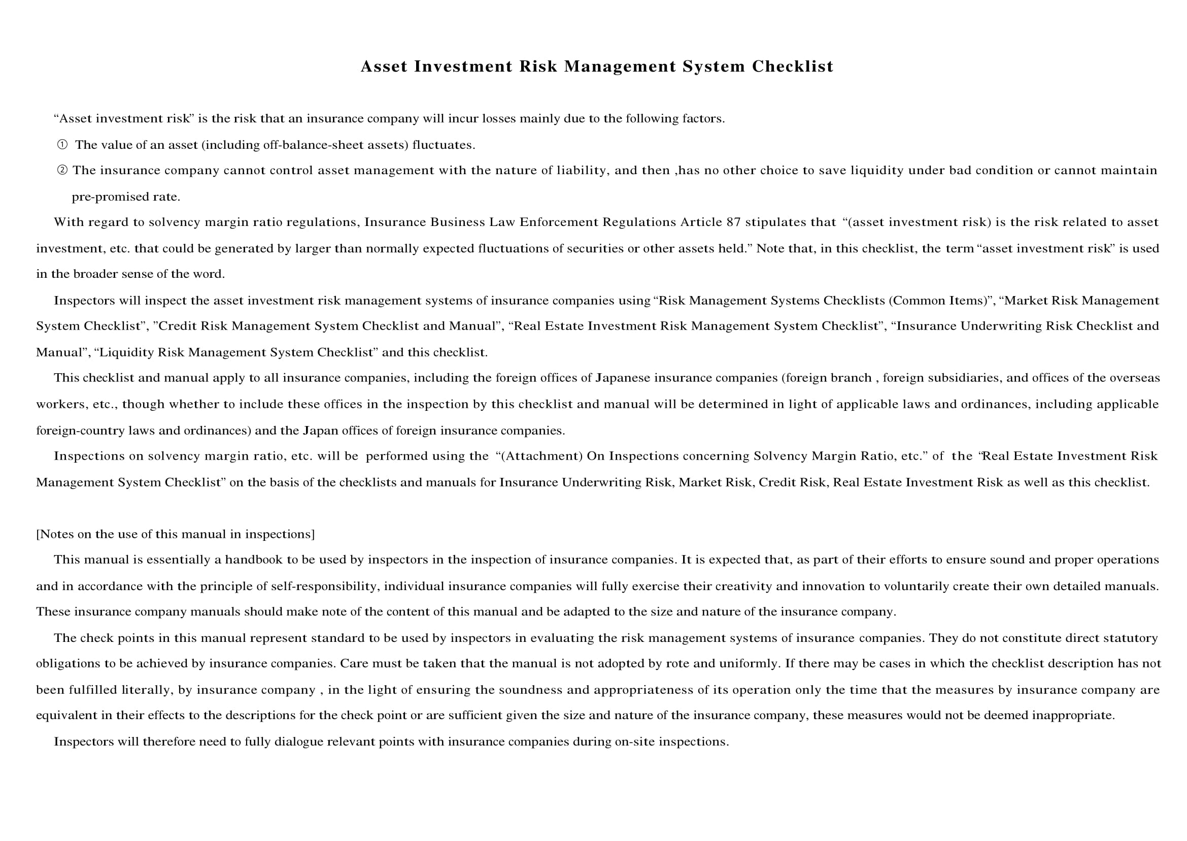asset investment risk management system checklist