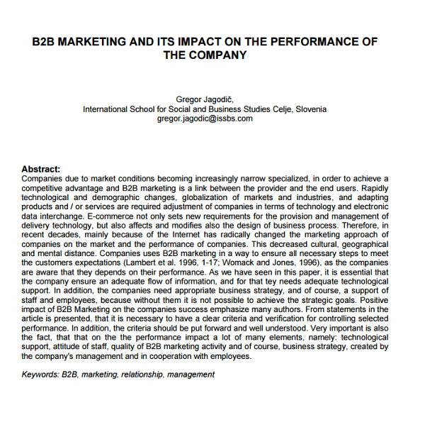 b2b marketing and its impact