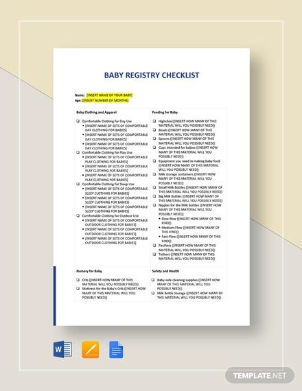 baby registry checklist example