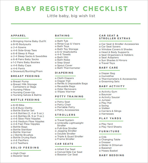 baby registry checklist sample1