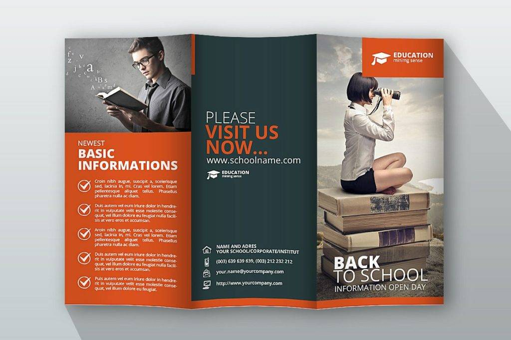 back to school trifold brochure example