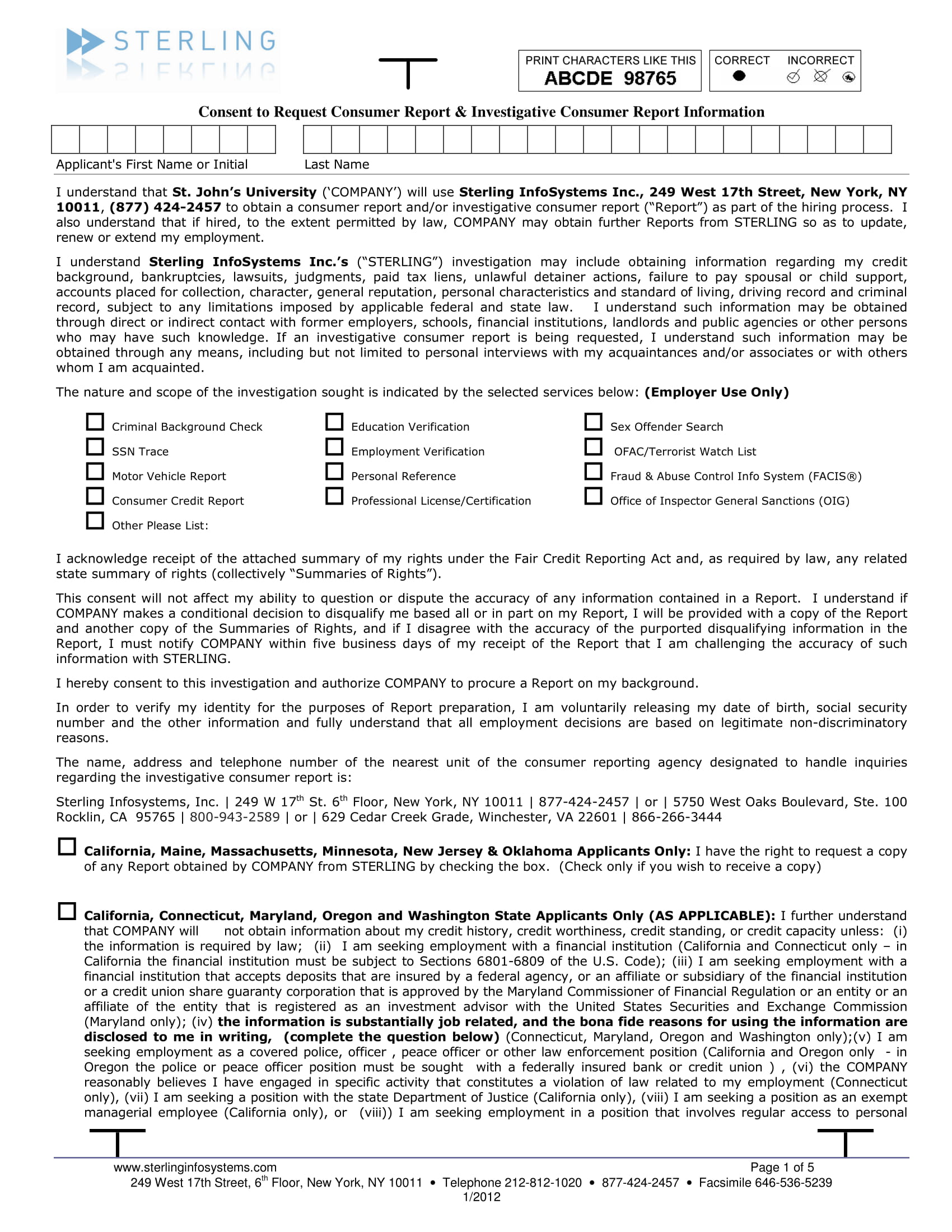 background check investigation form