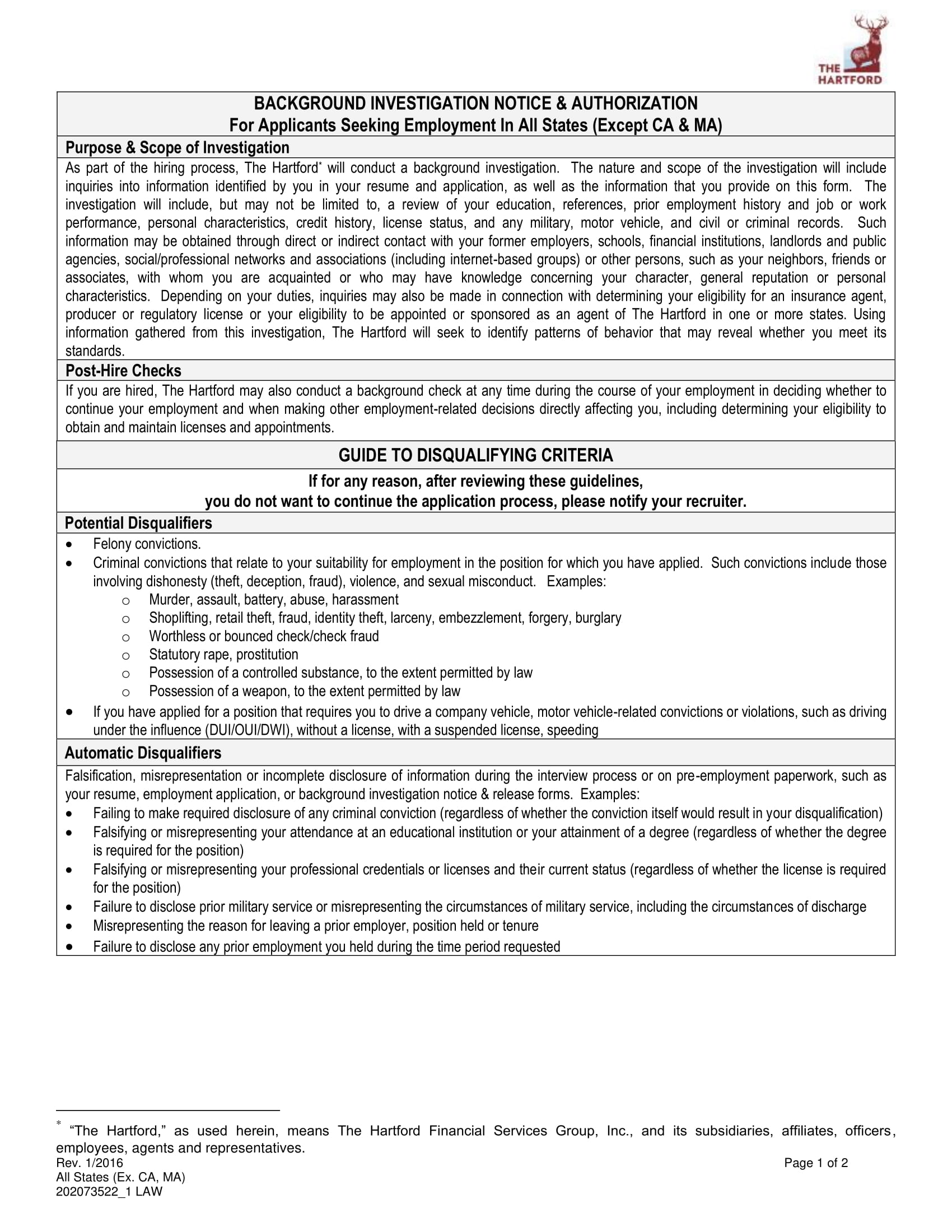 background investigation notice and authorization form