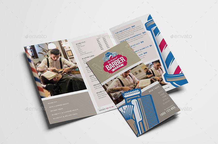 barber shop tri fold brochure design