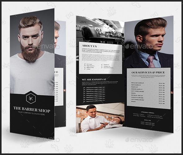 barber shop tri fold brochure