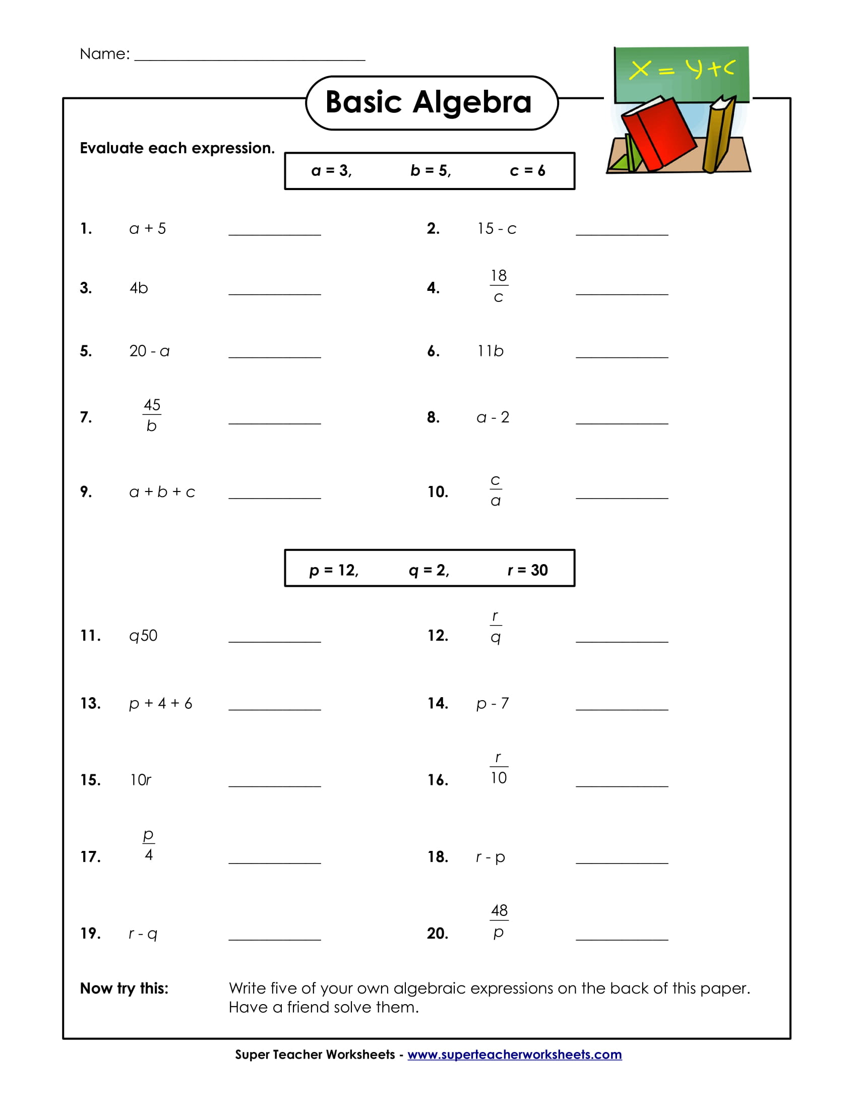 basic algebra sample worksheet