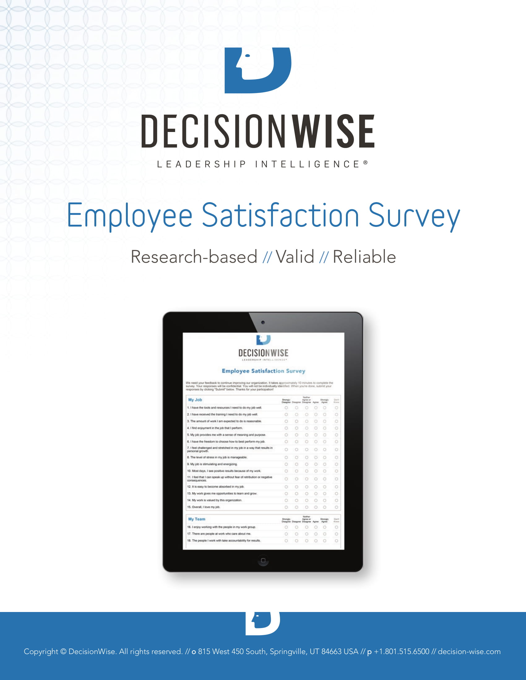 basic employee satisfaction survey form example