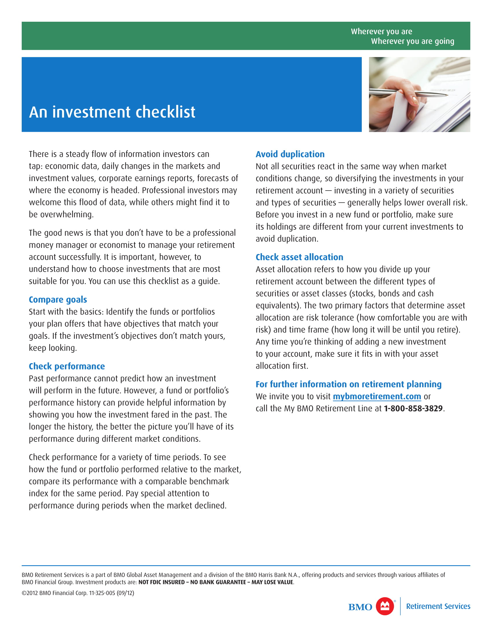 basic investment checklist example