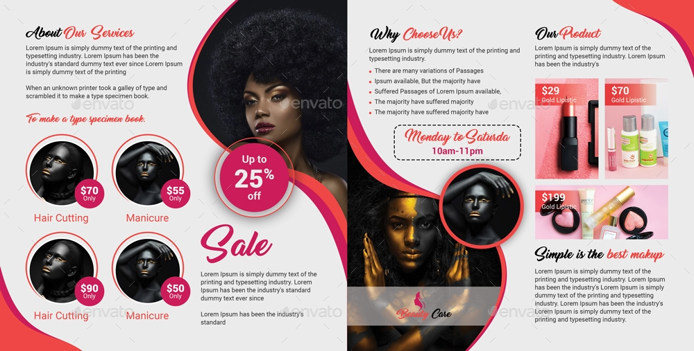 beauty care bi fold brochure