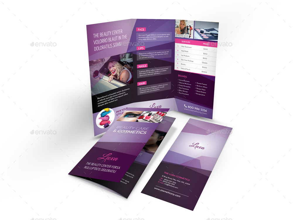 beauty care and cosmetics tri fold brochure