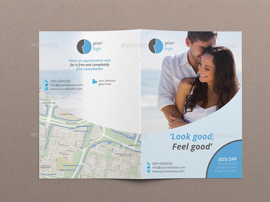 beauty clinic bi fold brochure