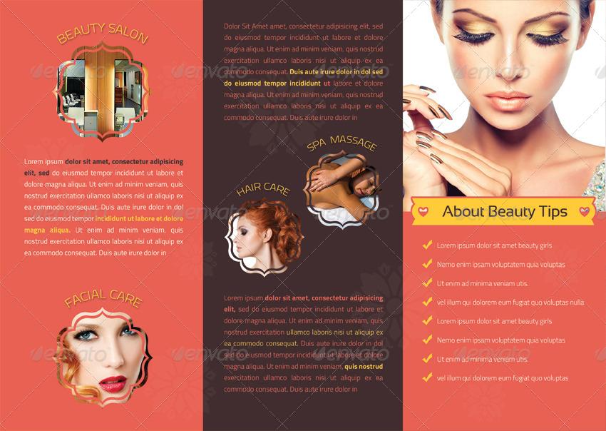 beauty salon tri fold brochure design
