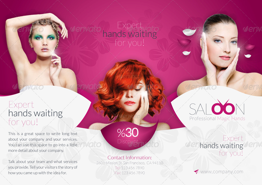 beauty salon tri fold brochure example