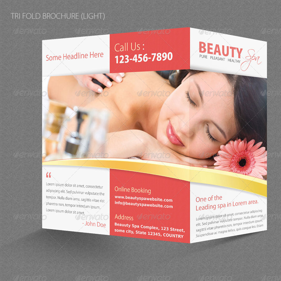 beauty spa sample tri fold brochure example