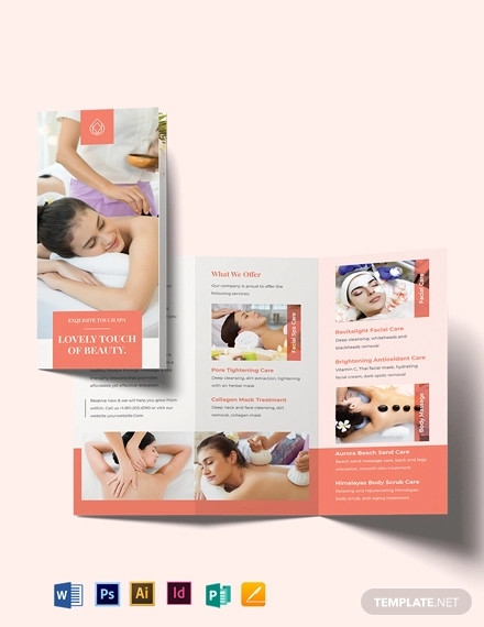 beauty spa tri fold brochure template