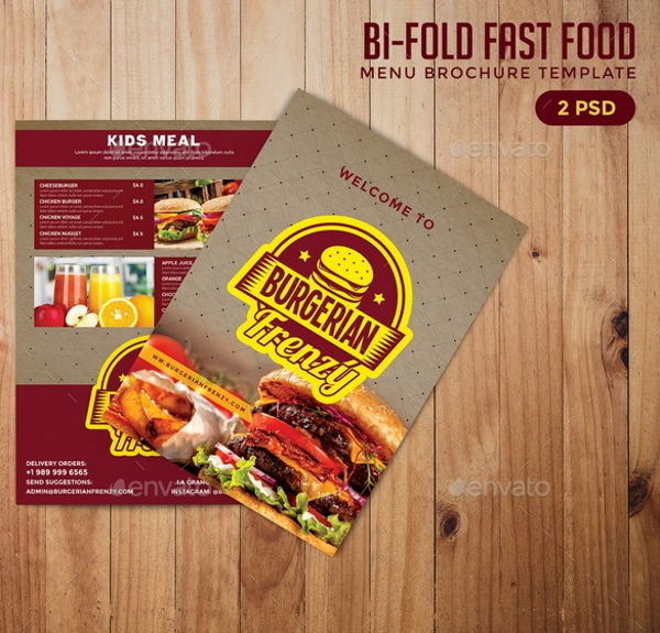 bi fold fast food brochure example