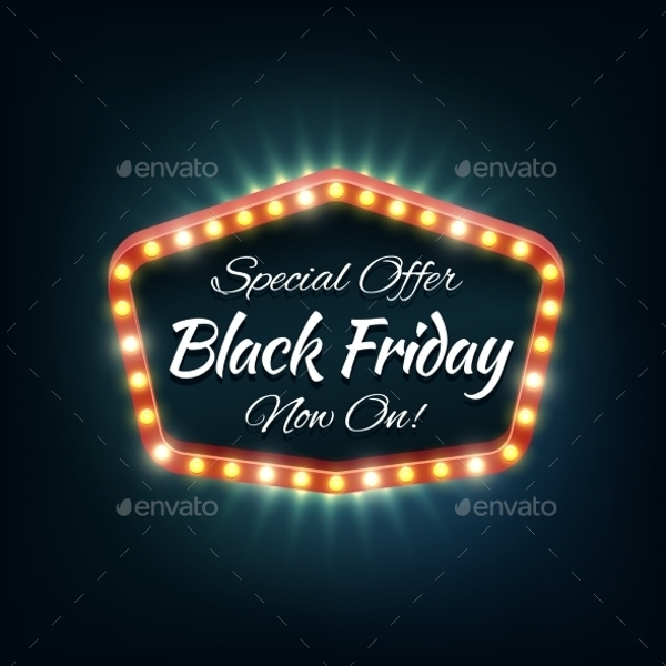 black friday light frame vector retro billboard