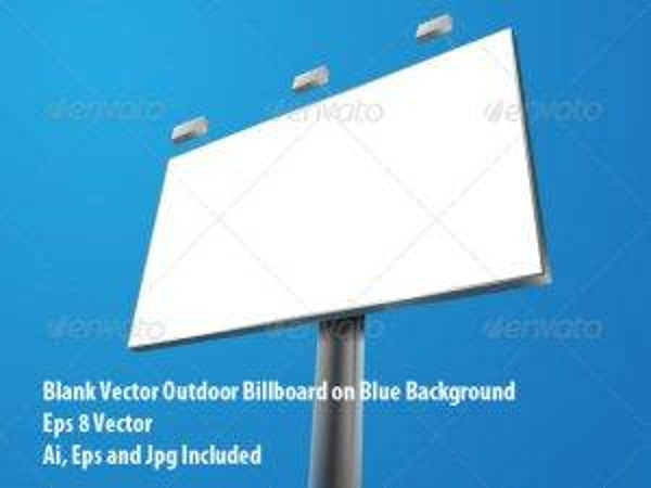 blank vector billboard on blue background