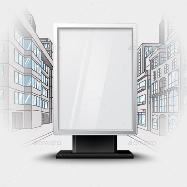 blank white vertical billboard on city scape