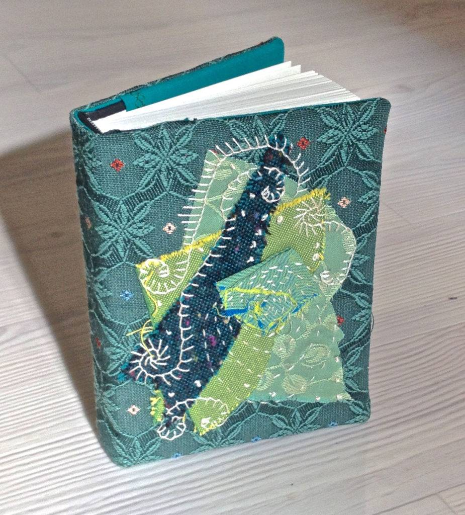 blue fabric scraps notebook cover