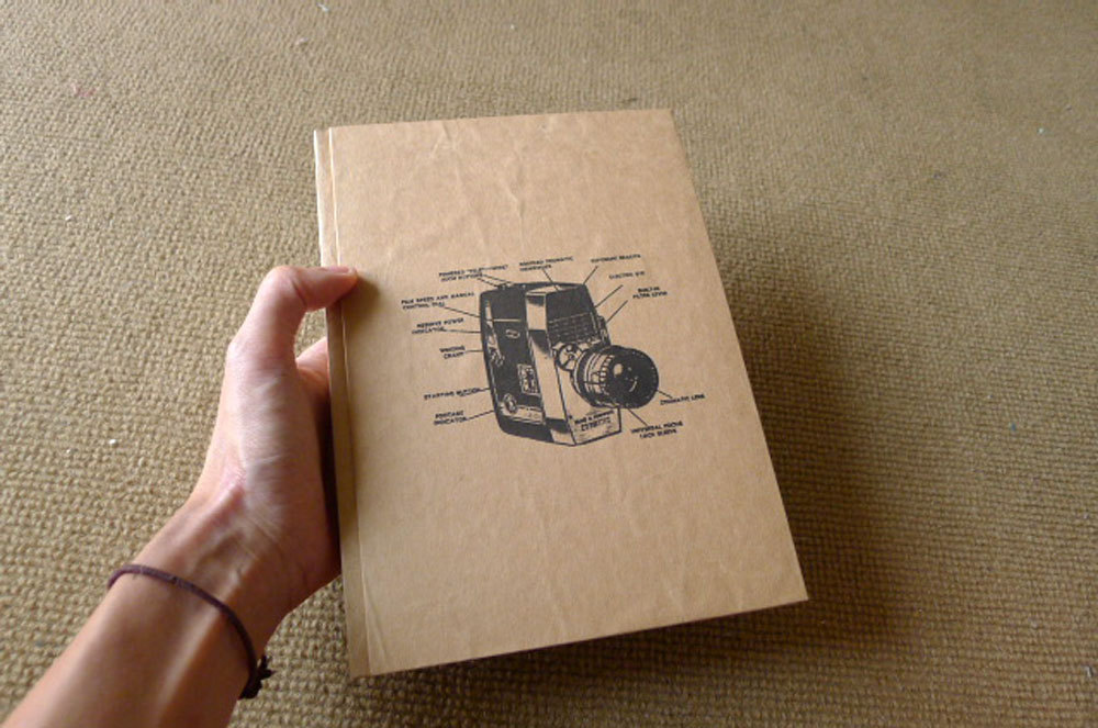 brown paper with camera design notebook cover