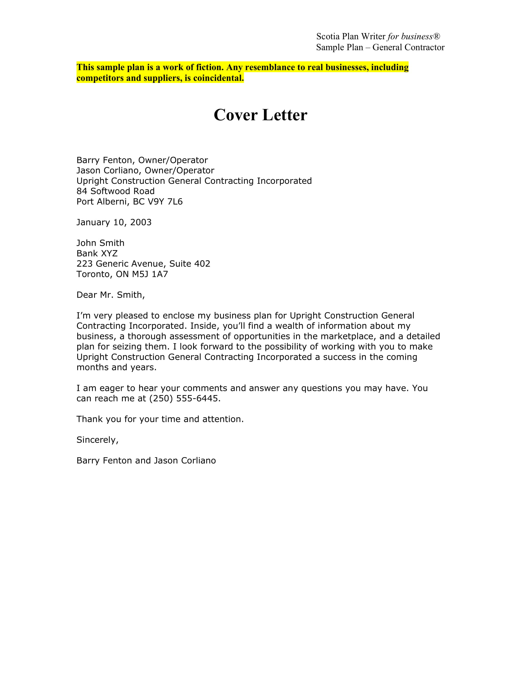 Business Proposal Cover Letter Examples Pdf