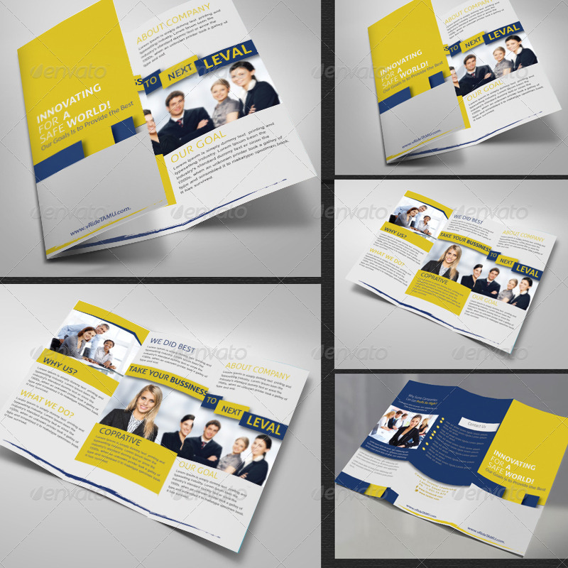 business tri fold two sided brochure
