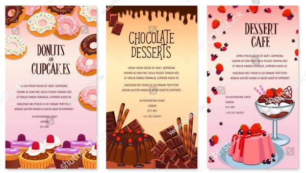 cafe desserts menu set example
