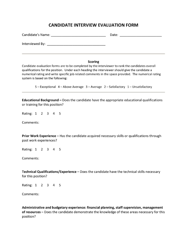 Examples Of Candidate Evaluation Forms  Pdf