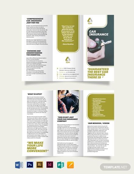 car insurance company tri fold brochure template