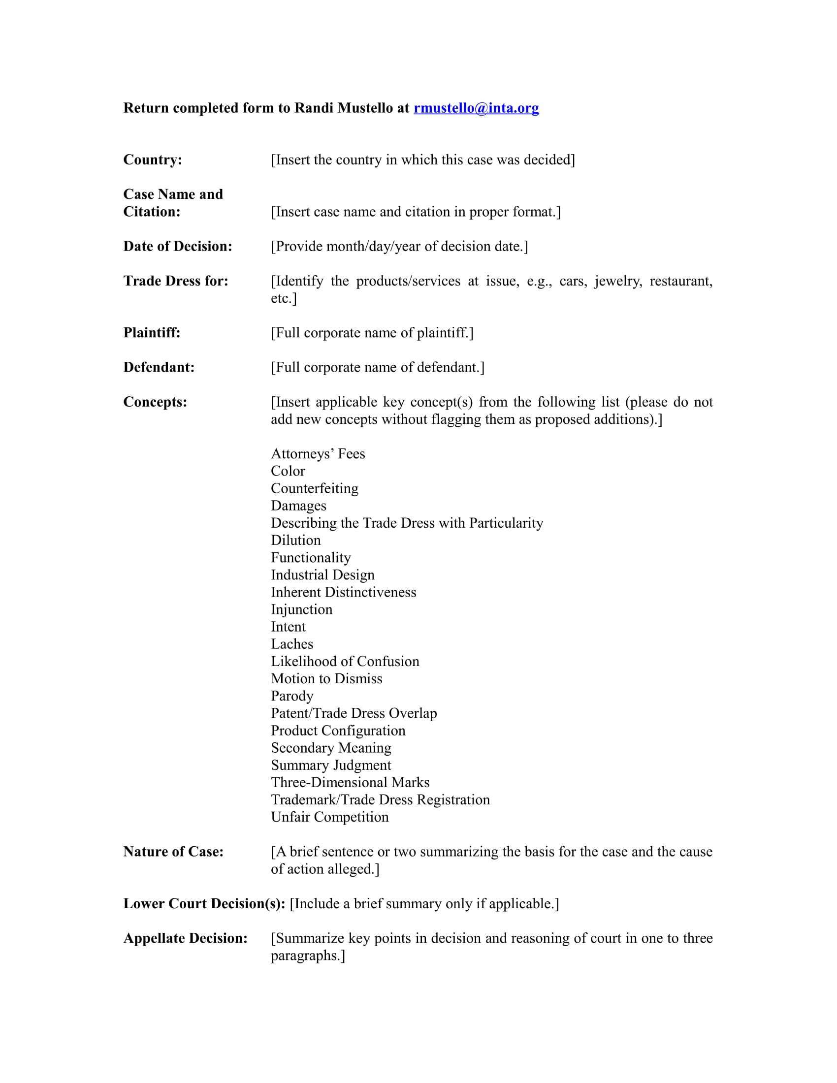 case summary template 1