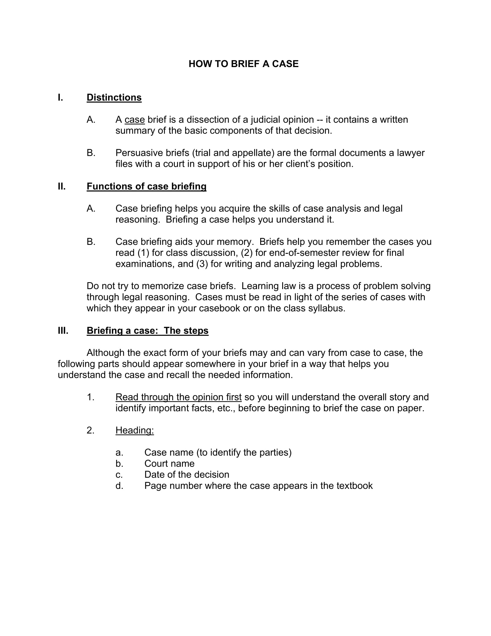 8 Case Summary Examples Doc Pdf