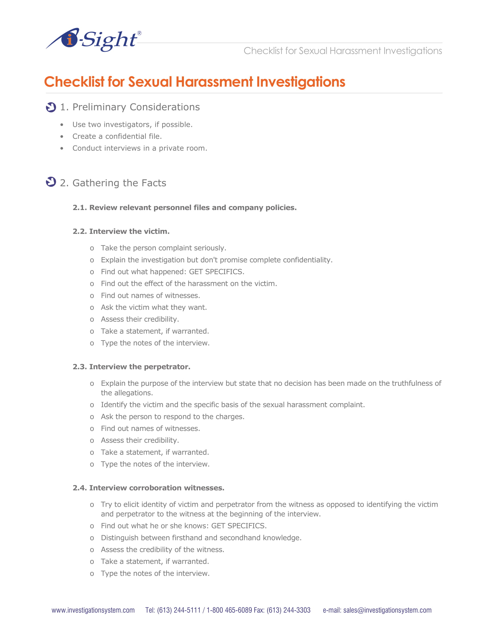 checklist for harassment investigation example