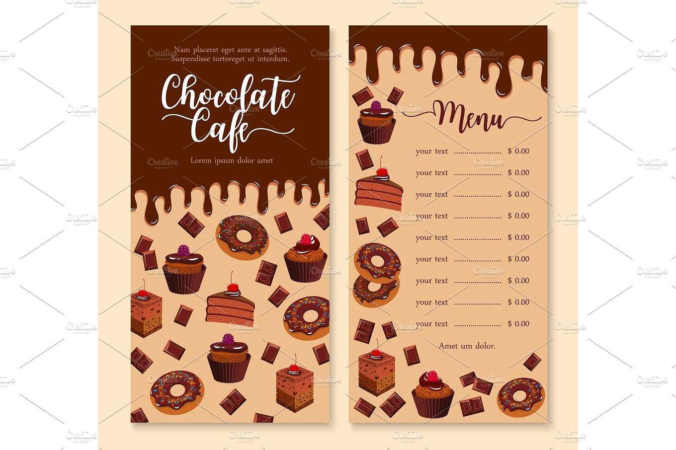 chocolate cake and dessert menu example