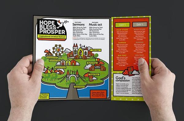 christian festival trifold brochure