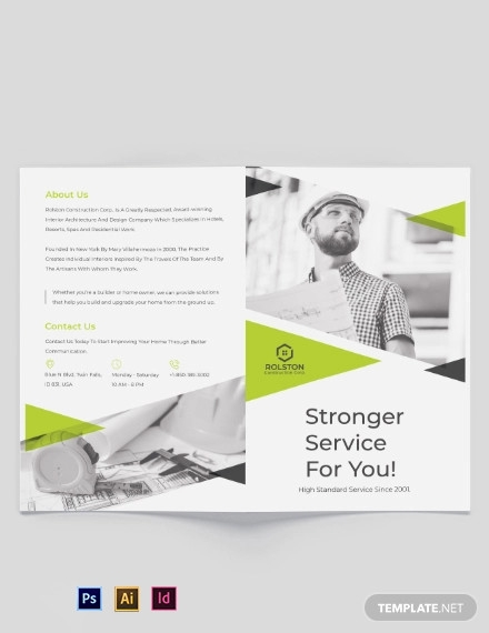 civil construction company bi fold brochure template