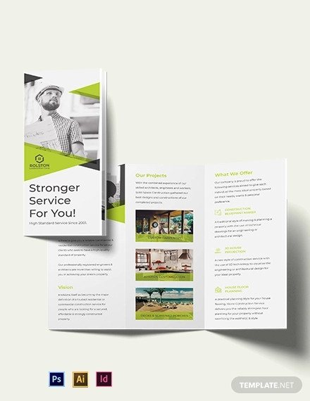 civil construction company tri fold brochure template