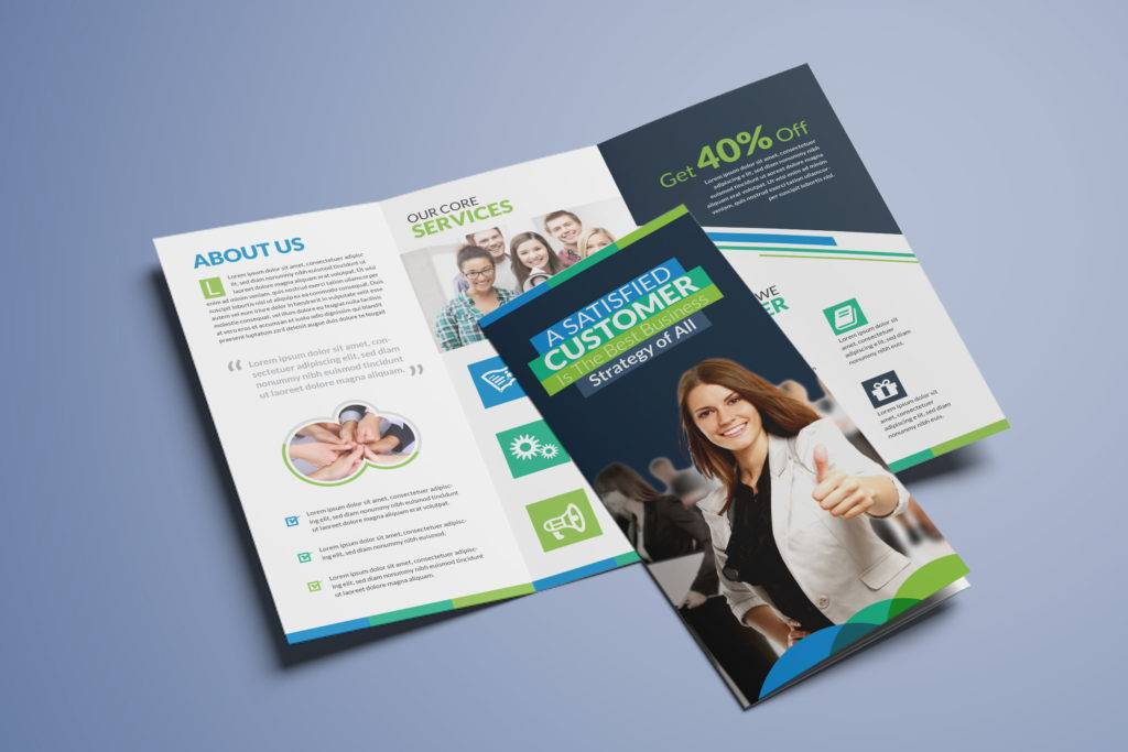 clean corporate business tri fold brochure template