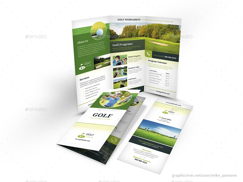 clean and modern golf trifold brochure
