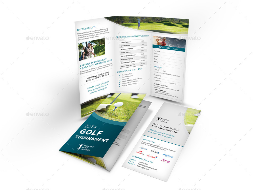 clean and professional golf tournament trifold brochure