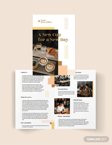 coffee shop bi fold brochure template