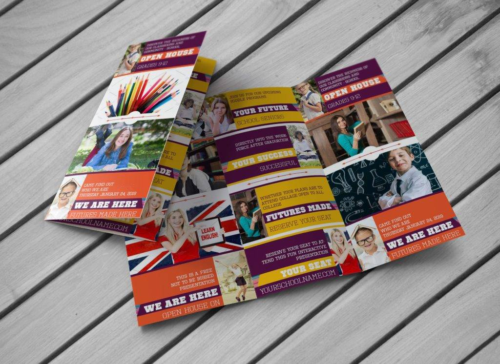 colorful education trifold brochure example