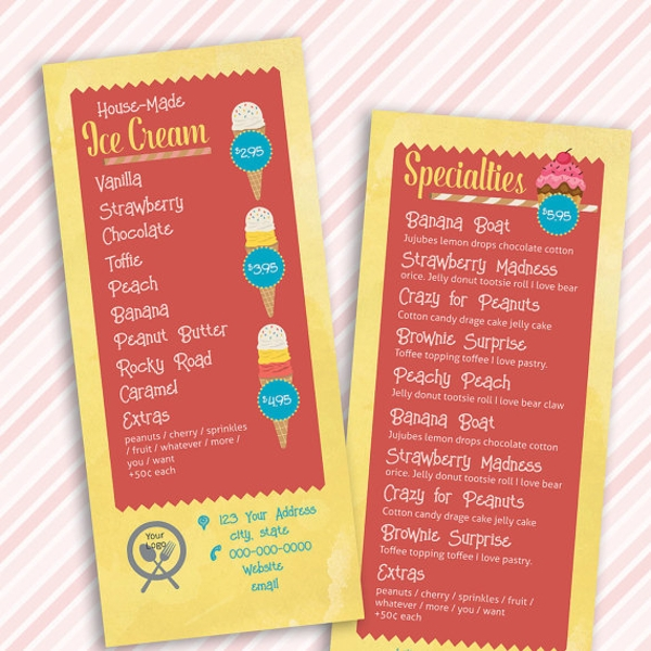 colorful ice cream shop rack card menu template
